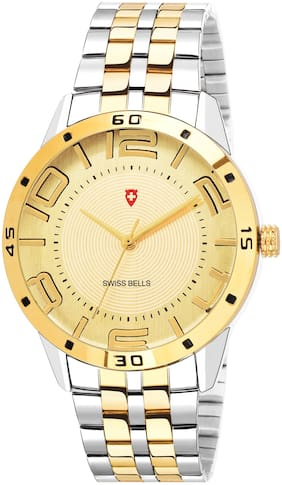 Swiss Bells Elite Day and Date Analogue Display Gold Dial Gold Plated Two Tone Stainless Steel Chain Men's Watch - TA-1147
