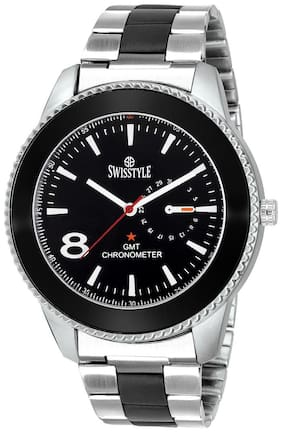 Swisstyle SS-GR792-BLK-CH Silver and Black Chain watch for Men