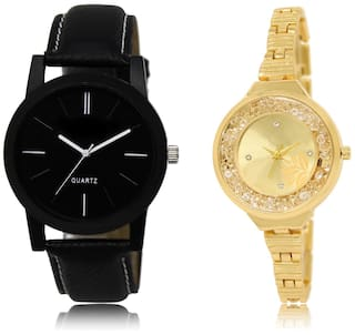 0e94c45912 The Shopoholic Black Gold Combo Best Combo Pack Black And Gold Dial Analog  Watch For Boys