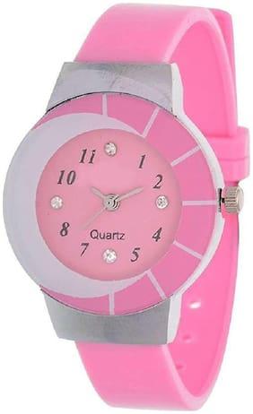 The Shopoholic Pink Analogue Plastic Belt Watch For Girls Stylish