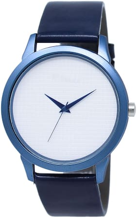 The Shopoholic Analog Plain White Dial Navy Leather Belt Watch For Boys-Men Watches