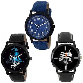 The Shopoholic Combo Latest Fashionable Blue And Black Apple Dial Analog Watch For Mens Stylish-Combo Watch Low Price