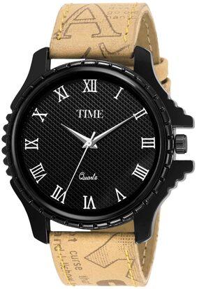 Time Quartz Men Black & Brown Casual Analog Watch