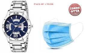 Timebre Men Blue Stainless Steel Day n Date Analog Watch (Free 5pcs masks)
