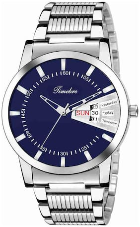 Timebre Men Blue Stainless Steel Day & Date Analog Watch -833