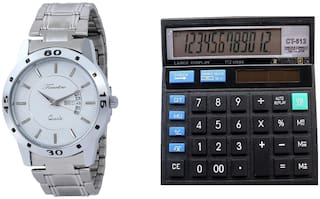 Steel Day Date Watch With Free Table Calculator Timebre