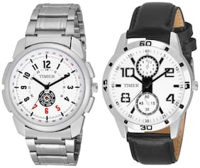 Timer stylish combo pack of 2 sporty analog watches for boys and men TC-COM-1001