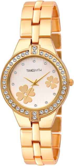 Timesmith White Dial Gold Stainless Steel Strap Branded Analog Watch for Women TSC-054