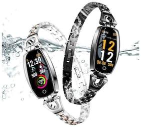 TimeTech Blood Pressure Turn Light Dynamic UI Women Diamond Stainless Steel Smart Watch Bracelet