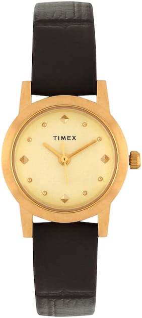 Timex Gold Dial Black Leather Watch for Women's-TW0TL9703T