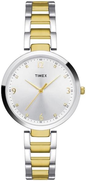 Timex Silver And Gold Round Analog Watch-TW000X200-TW000X200