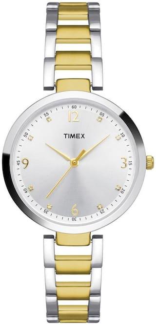Timex Silver And Gold Round Analog Watch-TW000X200-TW000X200