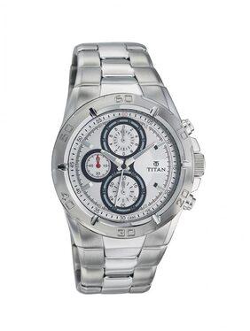 Titan 9308sm01 Silver Round Chronograph Watch