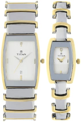 Titan Silver Dial Analog Watch with Date Function for Pair