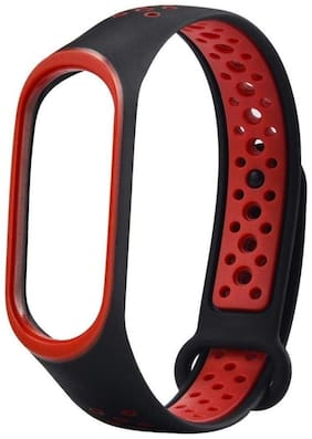 TOTU Two-tone Soft Silicone Watch Strap Replace Part for Xiaomi Mi Band 3 Replacement Watch Bands Soft Silicone Lightweight Ventilate Sport Wristband Wrist Strap for Xiaomi Mi Band 3 {Black+Red}