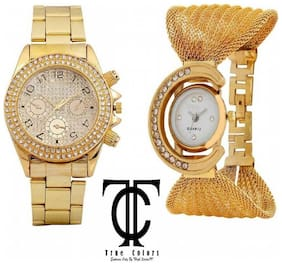 I Divas GOLD PLATED COMBO FOR SPECIAL SELECTED COUPLES GIFT SPECIAL Analog Watch - For Men & Women