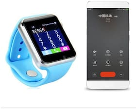 TSV A1 Unisex Bluetooth 4G Smart Watch Compatible with All, Xiaomi, Lenovo, Oppo Android/iOS Mobile Phones (Blue)
