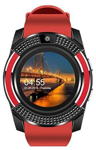 TSV  Smart Watch V8 Red  tooth Smartwatch Compatible with All Mobile Phones for Boys and Girls Red