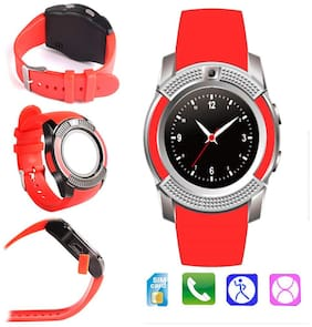 TSV  V8 Smartwatch/Bracelet Watch and Activity Wristband, Wireless Bluetooth  Connectivity Pedometer - Red