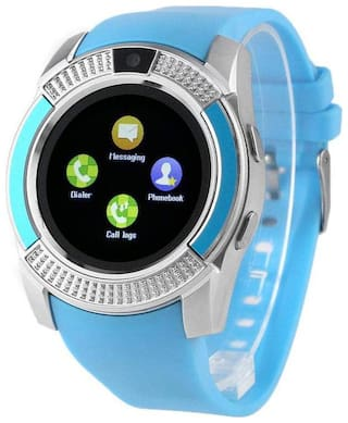 TSV  V8 Watch Bluetooth Smart Wrist Watch Phone Compatible With RealMe 2 Pro (Blue)