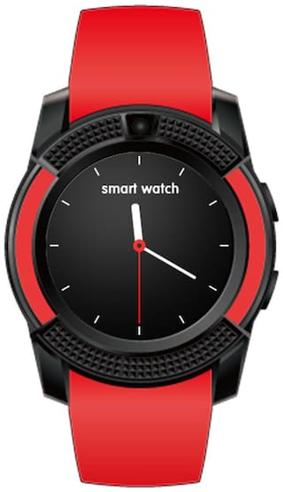 TSV  V8 Watch Red  tooth Smart Wrist Watch Phone Compatible With Vivo V7 Plus Red