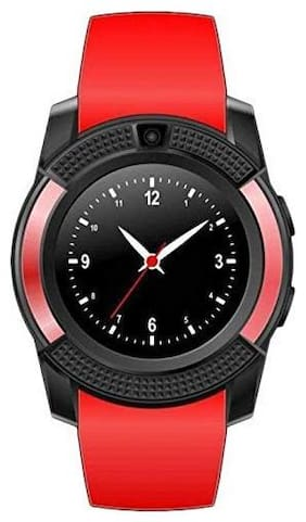 TSV  V8 Watch Bluetooth  Smart Wrist Watch Phone Compatible With RealMe 2 Pro Red