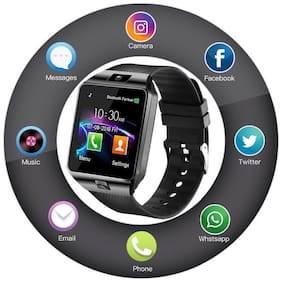 TSV Wireless Bluetooth DZ09 Smart Watch with Camera and Sim Card Support with Apps Like Whatsapp and Facebook (BLACK)