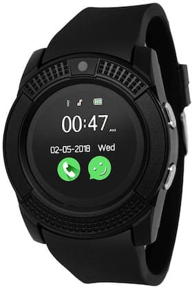 V8 Bluetooth Multi Functional V8 Black Smart Watch Camera Support, Sedentary Remind, Support SIM and TF Card, Apps, Pedometer Compatible with All Android and iOS Phone Or Device