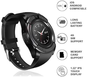 V8 Multi Sports Bluetooth Touchscreen Smartwatch with Camera,SD Card Slot & Calling Function Round Dial Smart Wrist Watch By Crystal Digital