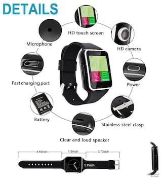 V8 Smart Watch Mobile Smartwatch Inbuild Camera Suppoting 3G/4G SIM for Phone Like Samsung, Xiaomi Mi, Oppo, ViVo, Moto, HTC, Lenovo Smartwatch