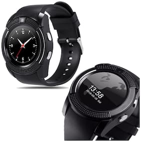 V8 Smart Watch with Bluetooth Sim Card (4G Supported) Health Fitness Tracker and More - Black Display By TSV