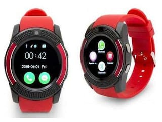 V8 Watch Red  tooth Smart Wrist Watch Phone Compatible with samsung Galaxy A8+ Red Display By TSV