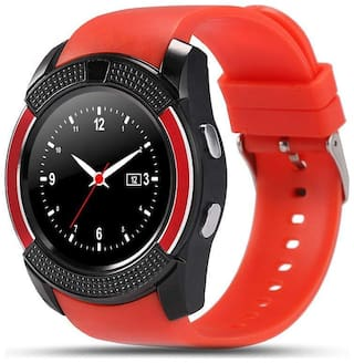 V8 Watch Red  tooth Smart Wrist Watch Phone Compatible with samsung Galaxy S9+Red Display By TSV