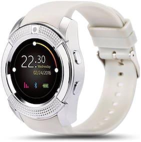 v8 white strap smart watch for men