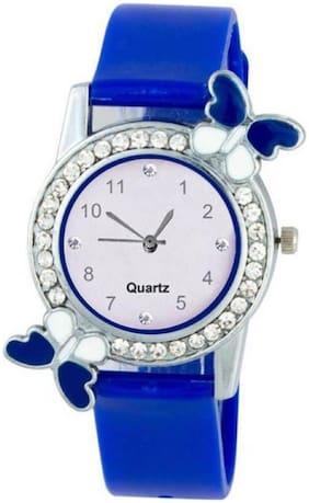 vibama  New Blue Stylish Diamond Studded Butterfly Women Watch Watch