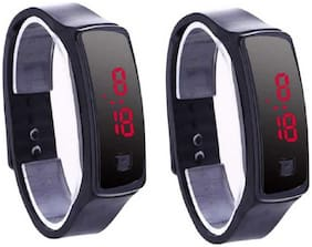 Vibama Unisex Silicon Led Bracelet Original Button ( Pack Of 2 ) Kids Digital Watch - For Boys & Girls