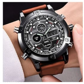 Vilam Luxury Branded Brown Chronograph Analog Digital Luxury Millitary Wrist Watch for Men