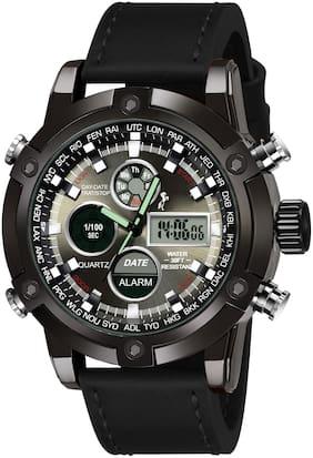 VILAM Genuine Leather Black Analog-Digital Watch - For Men