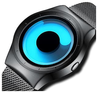 VILAM Men's Quartz Analogue Stylish Unique Design and Stainless Steel Milanese Mesh band and Wrist Watch(Blue Dial and Black Band