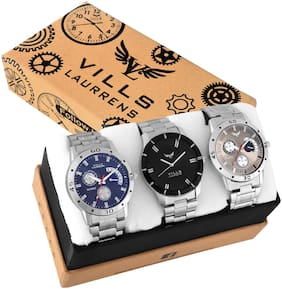 Vills Laurrens VL-1189+1188+1113 Combo of 3 High Quality Multi-Color Analogue Watches for Men and Boys