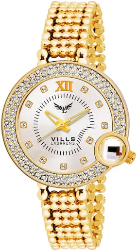 Vills Laurrens VL-7048 Stunning Gold Crystal Studded Watch Collection for Women and Girls