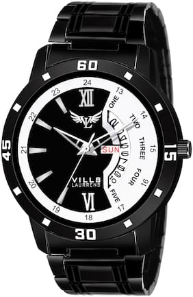 Vills Laurrens VL-1195 Stunning Black/White Day and Date Essentials Watch for Men and Boys