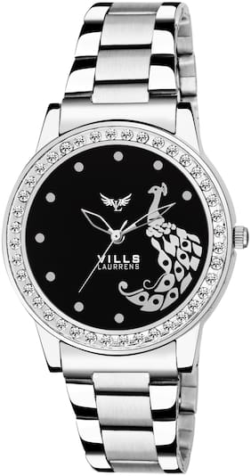 Vills Laurrens VL-7136 Black Peacock Designed Stainless Steel Watch for Women and Girls