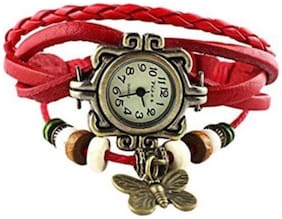 I Divas Vintage Red Butterfly Analog Watch - For Women