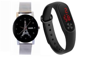 VASA(R-TM) New Model Vasa Effiltower Printed Diamond Style Glass Dial Watch and Silicone Official Look Digital Combo Watches for Boys &Girls(Sent As Per Available Colour)