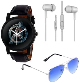 Wake Wood Analog Watch with Free Ear Phone & Sunglasses