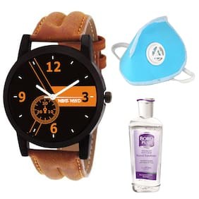 Wake Wood Analog Watch Free Hand Sanitizer + Mask