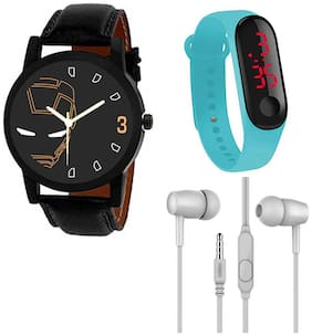 Wake Wood Analog Watch with free M3 LED Watch Band & Ear Phone