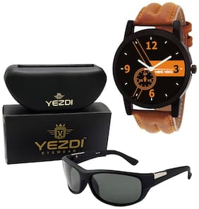 Wake Wood Black Dial Watch For Men with Free Yezdi Sunglasses