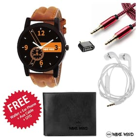 Wake Wood Black Dial Watch For Men with Free Wallet + Ear Phone + Aux Cable + OTG
